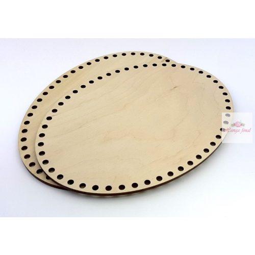 0,7 cm lyuk - Horgolható fa alap OVÁL 14,5 x 20,5 cm rétegelt falemez